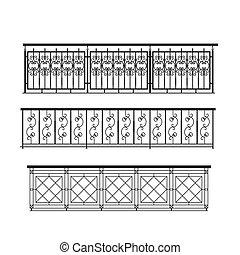 métal, parapet, extérieur, balustrade