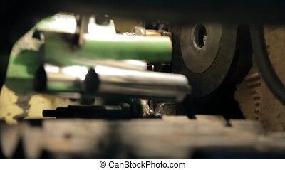 métal, parties, mécanisme, usine, cylindrique, churns, department.