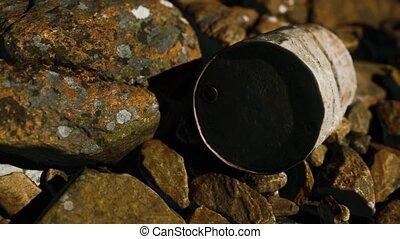 métal, rochers, plage, rouillé, détruit, baril
