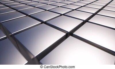 métal, sombre, carrée, blocs, 4k, boîtes, arrière-plan., graphic., surface., gris, mouvement, noir, aluminium
