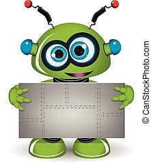 métal vert, robot, fond