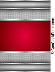métallique, fond, vide, gabarit, rouges, texture