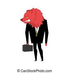 métaphore affaires, échange, businessman., commerçant, mauvais, sauvage, bête, suit., head., serviette, stockage, ours, rouges, animal, financier, joueur, ours, tie.