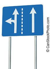 métaphore, allées circulation, eu, carrefour, route, signage, isolé, devant, signe, approprié, gauche, européen, choix, virage, flèches, sortie, résumé, bleu, alternative, bord route, jonction, parcours, blanc