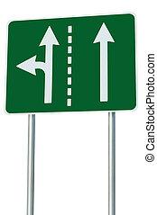 métaphore, allées circulation, eu, carrefour, route, signage, isolé, devant, vert, signe, approprié, gauche, européen, choix, virage, flèches, sortie, résumé, alternative, bord route, jonction, parcours, blanc