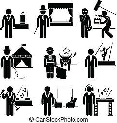 métier, artiste, divertissement, occupation