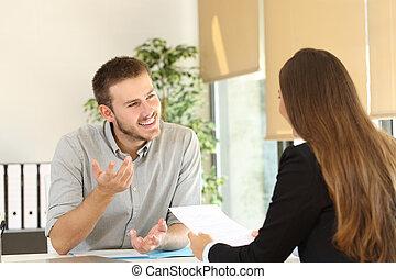 métier, homme, entrevue, conversation