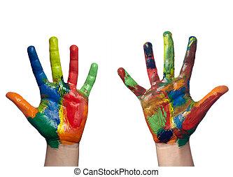 métier, main, art, enfant, peint, couleur