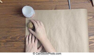 métier, potatoes., femme, décore, papier
