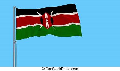 métrage, battement des gouvernes, isoler, transparency., prores, drapeau, 4k, kenya, mât, alpha