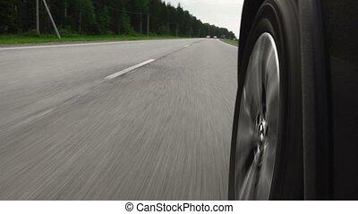 métrage, conduite, autoroute, été, voiture