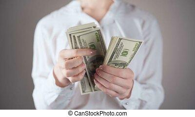 métrage, dénombrement, dollars, chemise blanche, femme affaires