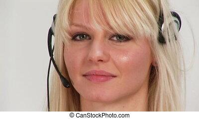 métrage, femme, hd, casque à écouteurs