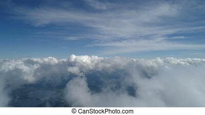 métrage, nuages, poste pilotage, au-dessus, avion, scène, aérien