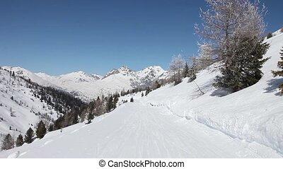 métrage, subjective, pente, ski