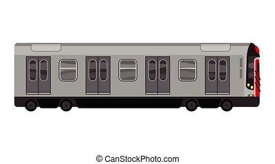 métro, icône, animation, ville, train