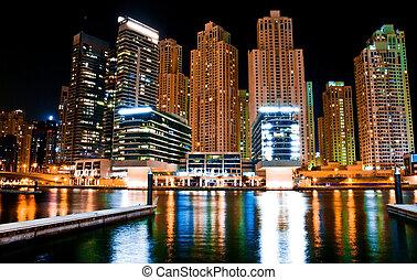 métropole, paysage, nuit