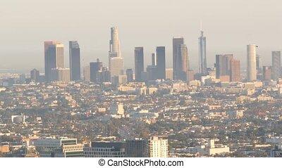 métropole, pollution, bas, écologie, los, urbain, en ville, gratte-ciel, californie, smog, usa., visibilité, air, ville, highrise, problèmes, sale, cityscape, skyline., toxique, fog., angeles, brumeux