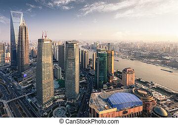métropole, shanghai, moderne, crépuscule