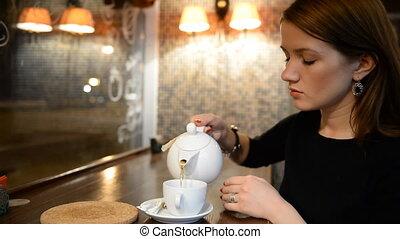 même, thé, boire, jeune fille