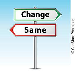 même, vecteur, ou, changement, signe