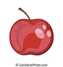 mûre, illustration, dessin animé, fruit, pomme rouge, vecteur