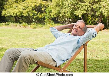 mûrir, canapé soleil, séance, homme, heureux
