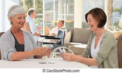 mûrir, cartes, leur, quoique, maris, conversation, femmes, jouer