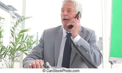 mûrir, conversation, téléphone, homme affaires