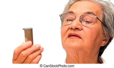 mûrir, elle, regarder, pilules, femme