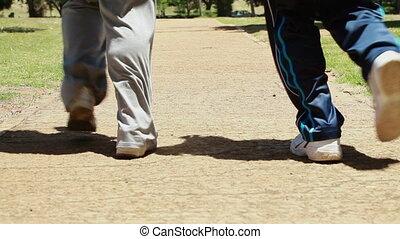 mûrir, jogging, couple, ensemble