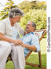 mûrir, soleil, couple, chaise longue, séance, heureux