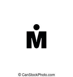 m, vecteur, garçon, signe, homme, symbole, restroom., icon., toilette, wc, bathroom., lettre, pictogramme
