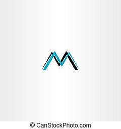 m, vecteur, noir, lettre, cyan, logo, icône