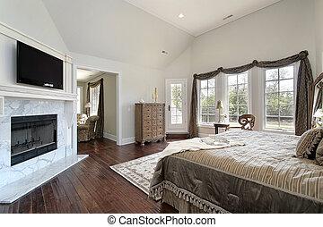 maître, cheminée, marbre, chambre à coucher
