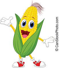 maïs, dessin animé, caractère, mignon