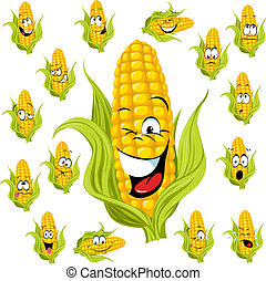 maïs, doux, dessin animé