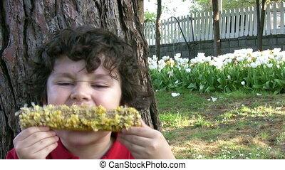 maïs, manger, affamé, enfant