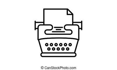 machine écrire, animation, icône, nostalgie