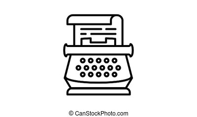machine écrire, animation, icône, retro