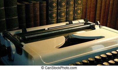 machine écrire, papier, tapé, document, pris, générique, -, lettre