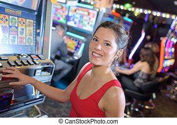 machine, arcade, portrait, femme