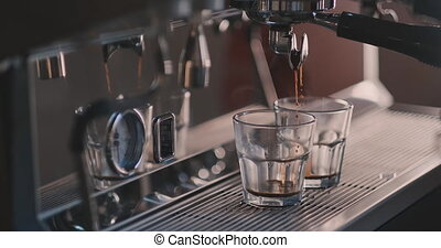 machine, café, lent, cofee, fluxs, mouvement