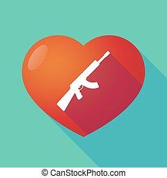 machine, coeur, signe, rouges, long, ombre, fusil