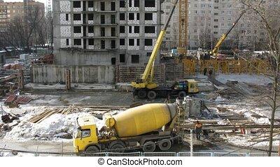 machine, défaillance, mélangeur, site., temps construction