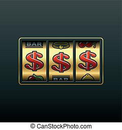 machine, dollars, -, enjôleur