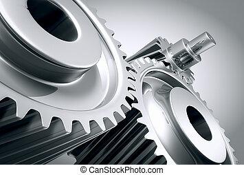 machine, fin, gears., haut