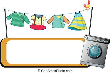 machine, fond, dos, lavage, blanc, pendre, vide, signage, vêtements, illustration