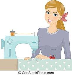 machine, girl, couture