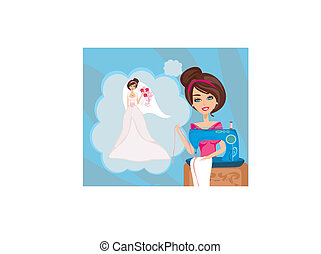 machine, girl, rêves, mariage, couture, robe, beau